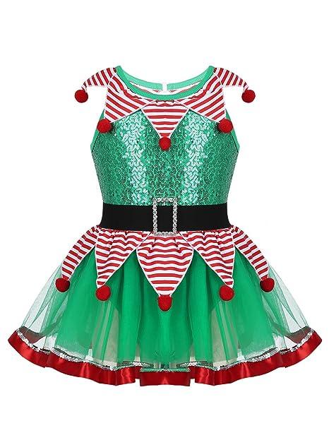 MSemis Disfraz Duende de Navidad para Niñas Vestido Payaso y ...