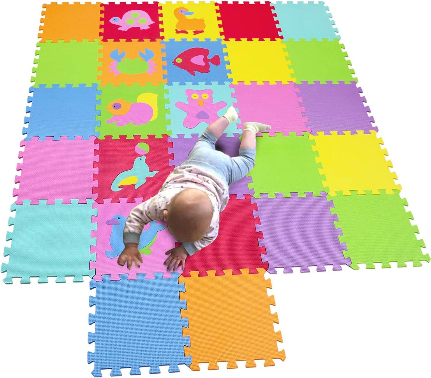 MQIAOHAM children puzzle mat play mat squares play mat tiles baby mats for floor puzzle mat soft play mats girl playmat carpet interlocking foam floor mats for baby CS3009G27