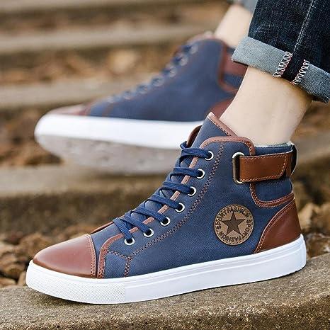 Zapatos Hombre,Hombres zapatos causales de encaje-hasta botines zapatos casuales altos zapatos de lona superior LMMVP EU Azul, 46