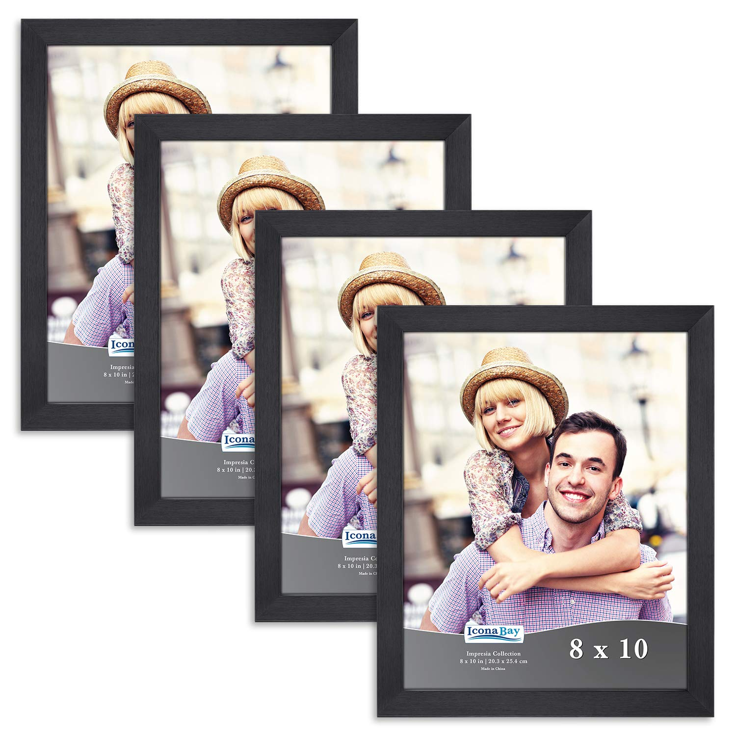 Icona Bay 8x10 Picture Frame Pack (4 Pack, Black) 8 x 10 Frame, Tabletop and Wall Hang Hardware Included with Photo Frames, Impresia Collection by Icona Bay (Image #1)