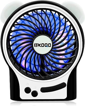 OXOQO Mini USB Portátil Recargable Ventilador de Mesa, de 4 ...