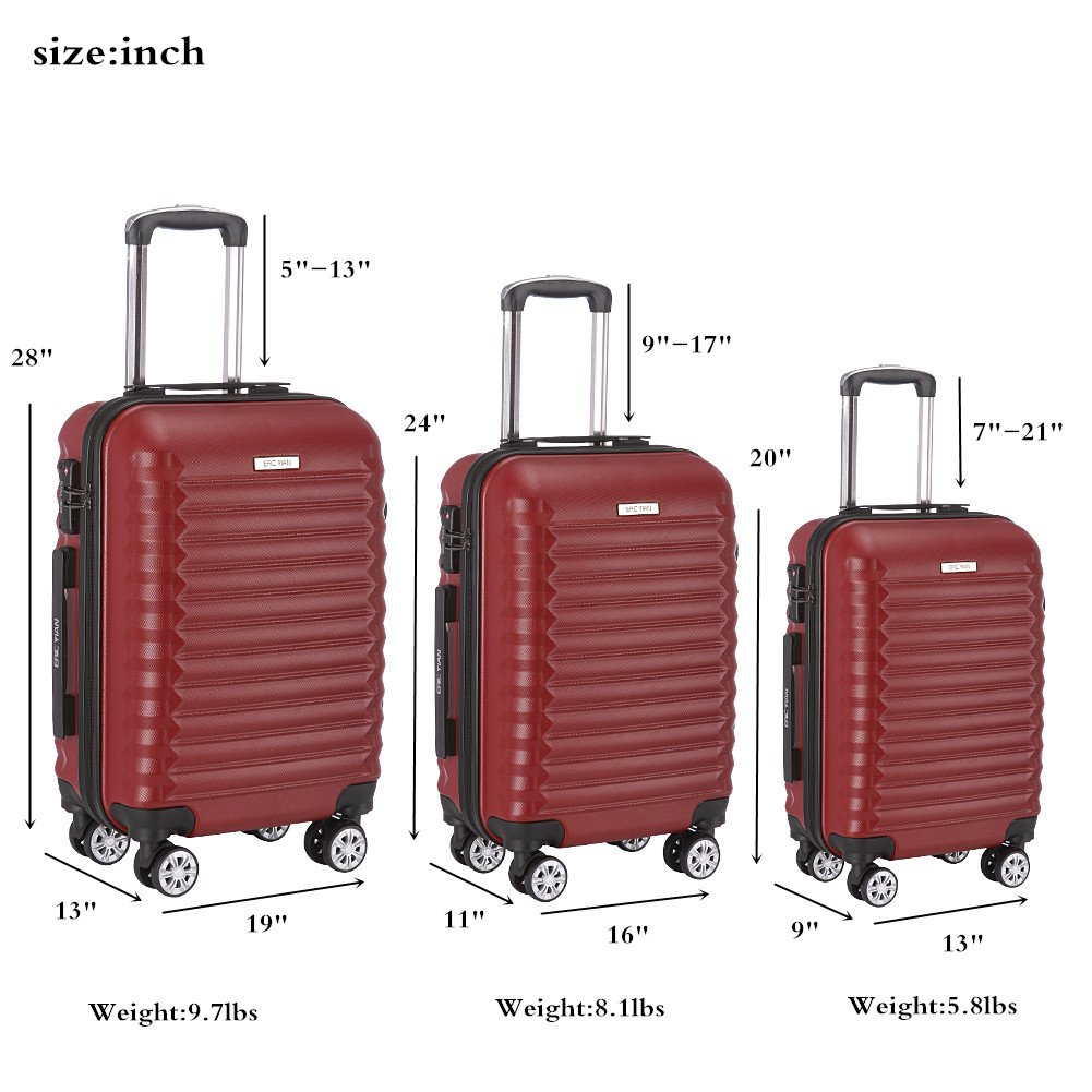Luggage Set 3 Piece ABS Trolley Suitcase Spinner Hardshell Lightweight Suitcases TSA by ERIC YIAN (Image #3)