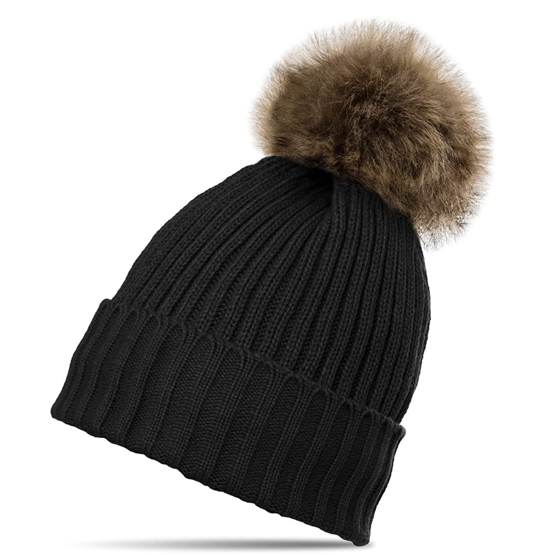 CASPAR Damen gefütterte Winter Mütze / Strickmütze mit großem Fellbommel - viele Farben - MU096