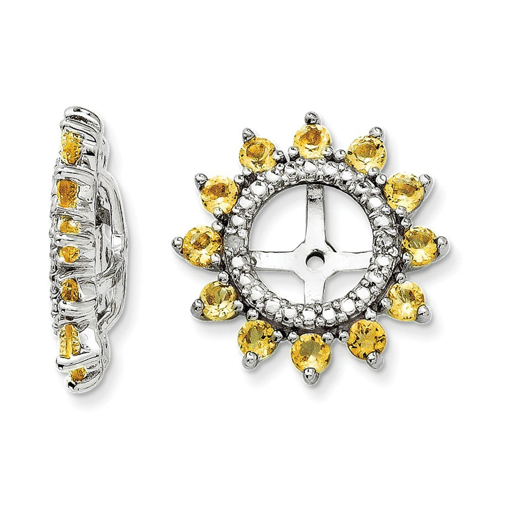 Sterling Silver Rhodium Diamond & Citrine Earring Jacket