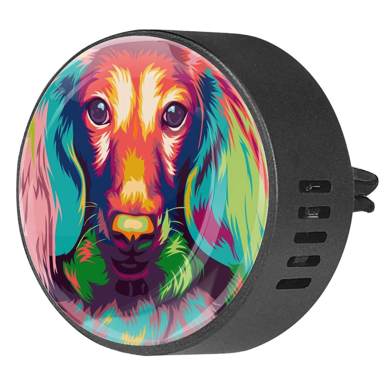 AISSO Long Haired Miniature Dachshund Dog Prints Custom Car Aromatherapy Essential Oil Diffuser EVA Locket Air Freshener Vent Clip for Car Office Home