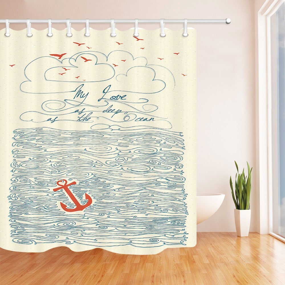 Nautical Anchor and Spindrift Decor Shower Curtain Waterproof Mildew Resistant Water Soap and Mildew resistant Machine Washable Shower Hooks are Included HYC08-C 6#, 71 x 71 Inch