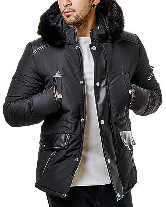 Schwarz Jacke Br1630 Gesteppt Burocs Zipper Winter Herren Fell Parka Kapuze Ybf6I7ygv