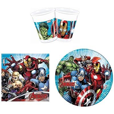 PROCOS 52 Piezas Marvel Avengers Party - Juego de vajilla de Platos, Vasos y servilletas: Juguetes y juegos