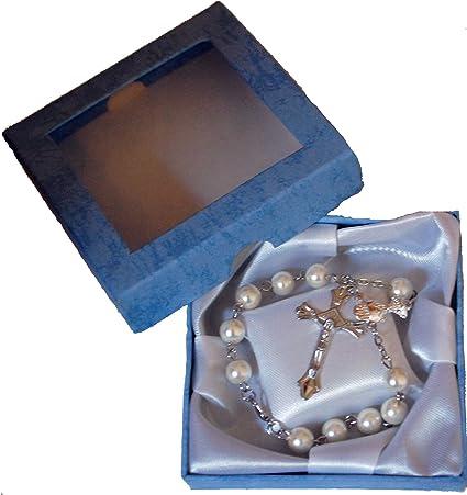 Hermosa pulsera de rosario de una sola decena para primera comunión, bautizo,