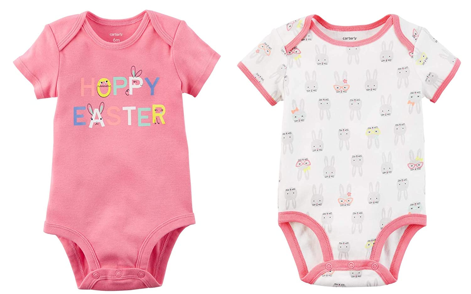 cf4e84497ad7 Amazon.com: Carter's Baby Girl's Easter Outfit Set of 2 Bodysuits Bunny and  Hoppy Easter: Clothing