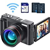 """Digital Vlogging Camera YouTube Camera HD 1080P 24MP Video Camcorder with WiFi Connection, 3.0"""" IPS Flip Screen, Wide Angle L"""