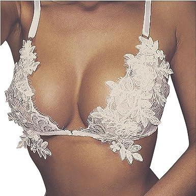 RETUROM Ropa Interior Mujer, Brazalete de Bralette triángulo Transparente Floral de Encaje de Las Nuevas