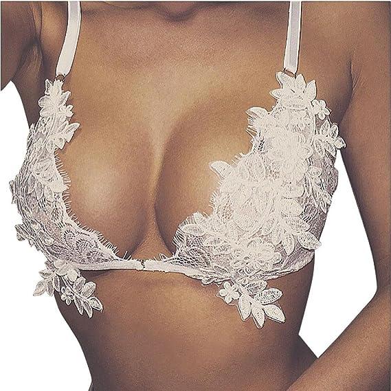 Ropa Interior Mujer, RETUROM Brazalete de Bralette triángulo transparente floral de encaje de las nuevas