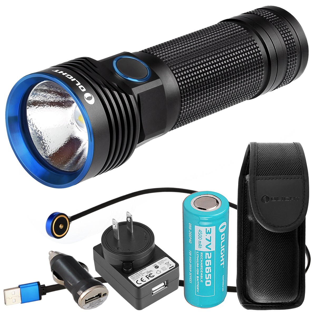 Olight R50 PRO Seeker 3200 Lumens CREE XHP70 Rechargeable LED Flashlight with LumenTac USB Car Adapter by Olight