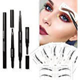 Eyebrow Stencils SET with 16 Unique Eyebrows Shape Stickers Reusable for Women. Also 3-in-1 Black Eyebrow Pencil that…