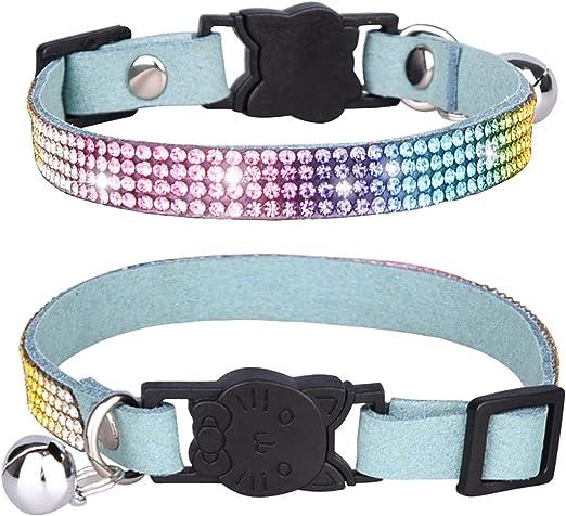 Mummumi Pet Collar, Cat Rhinestone Collar with Bell Breakaway Cat Bling Collar Adjustable Safety Buckle Collars for Kitten Cat Puppy Dogs