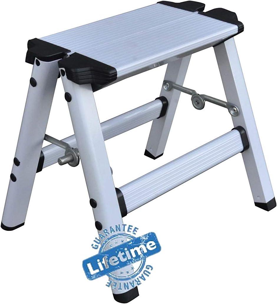 Elk & Bear Small Folding Step Stool for Adults or Kids Aluminum Ladder Great for Kitchen, Bathroom, RV, Closet, Garage, Garden (White)