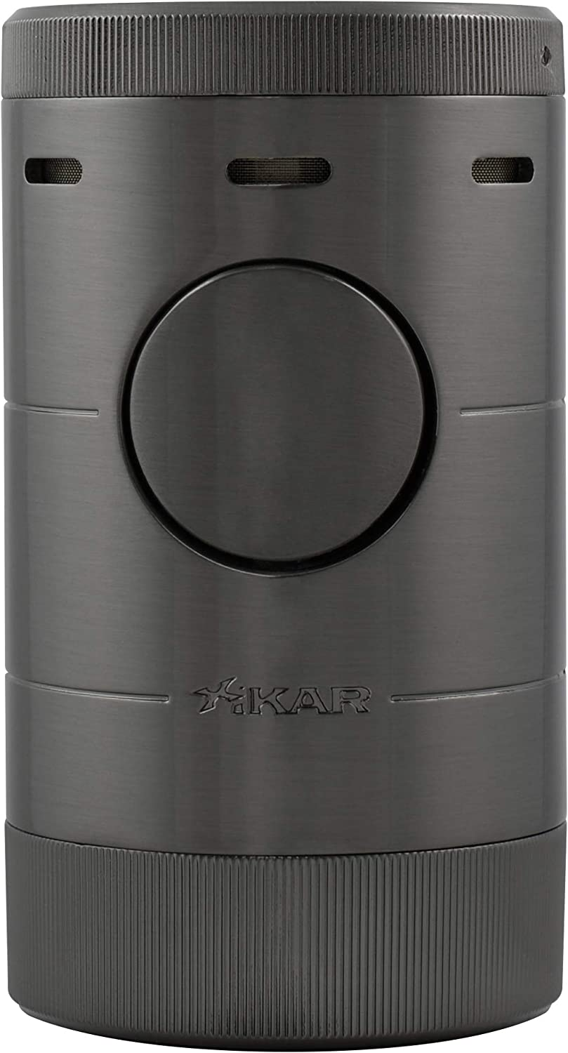 Xikar Volta Quad Flame Tabletop Lighter, High Performance, Camera Aperture-Inspired Lid, Gunmetal