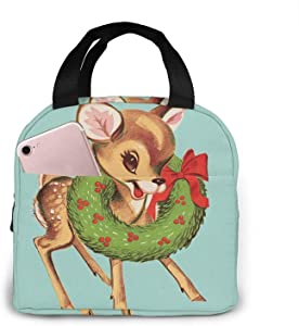 Lunch Bag Canvas Fabric Reusable Insulated Reindeer Flower Wreath Lunch Box for Work School Travel and Picnic