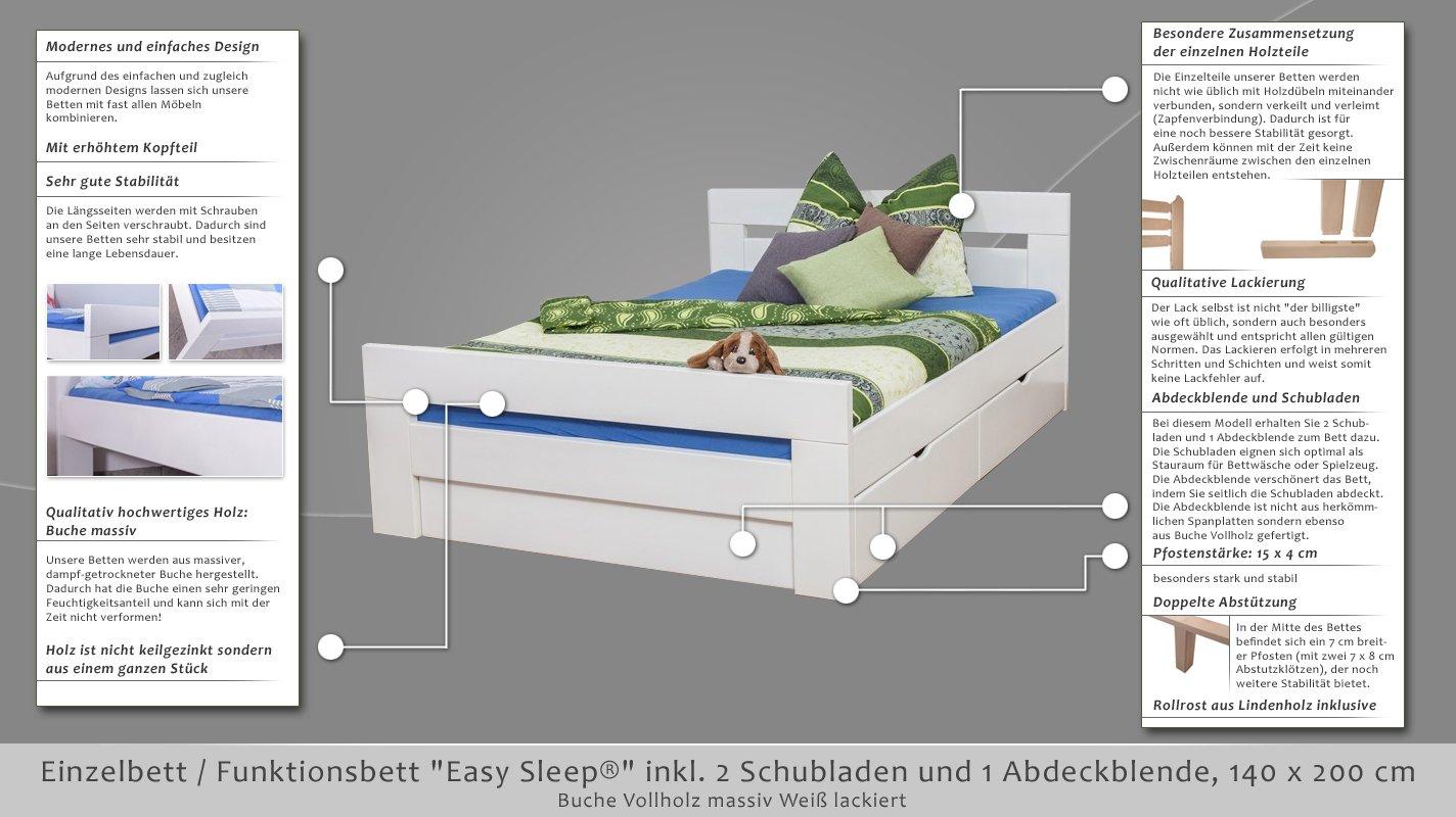 Storage Bed Easy Sleep K6 With 2 Drawers And 1 Abdeckblende