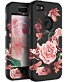 RabeMall Apple iPhone 5 Case iPhone 5S Case iPhone SE Case Pretty Flowers for Girls/Women Anti-Fingerprint Scratch-Resistant Three Layer High Impact Resistant Hybrid Protective Cover,Floral Black