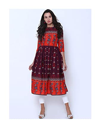 7b121d7bdee0d Image Unavailable. Image not available for. Color  Hiral Designer Mall 3 4  Sleeves Women Burgundy   Red Printed Anarkali Kurta Gown Dress