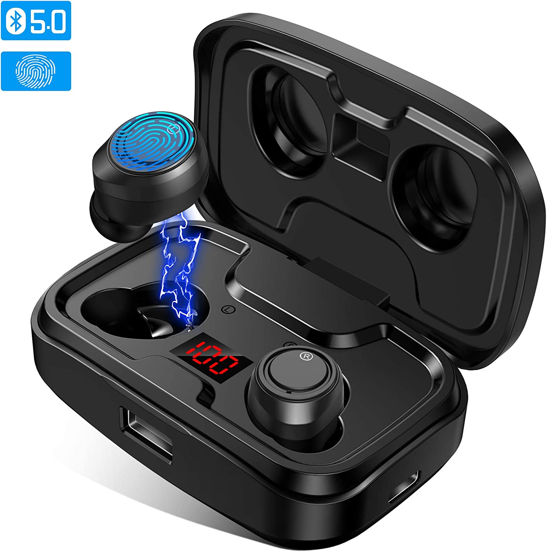 2020 Auriculares Bluetooth 5.0 Auriculares Inalambricos Deportivos 3000mAh Estuche Carga Auriculares Bluetooth con Micrófonos, Hi-Fi Sonido Estéreo, IPX5 Anti-Sudor, Digital Display, Control Táctil