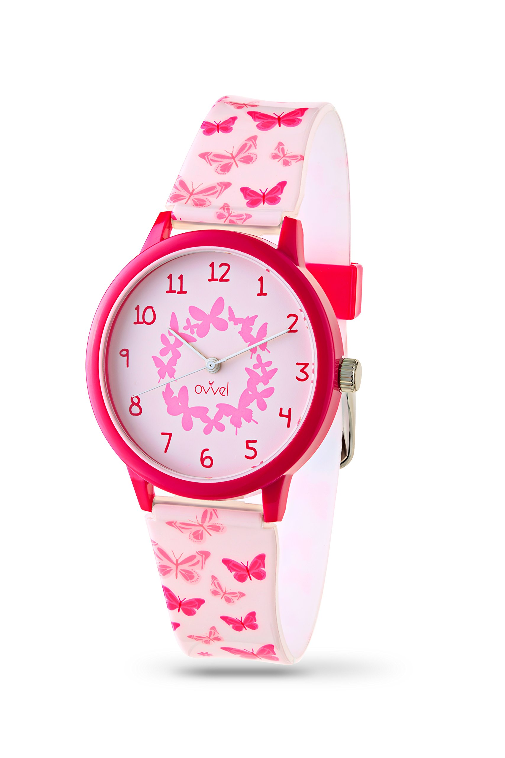 Ovvel Girls Watch - Pretty and Cute Kids Wrist with Teaching Analog Display Time Teacher - Japanese Quartz Movement - Pink Butterfly Design by Ovvel (Image #1)