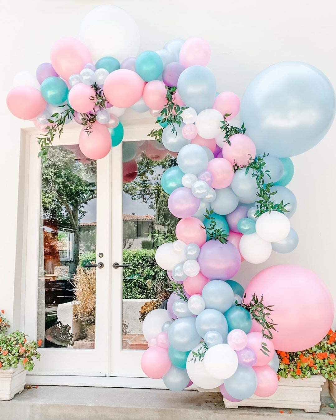 Pearl Balloons Garland Kit, 121pcs White Pink Pearl Blue Purple Tiffany Latex Balloons Backdrop Decor Ideas for Wedding Birthday Bridal Baby Shower Anniversary Party Supplies