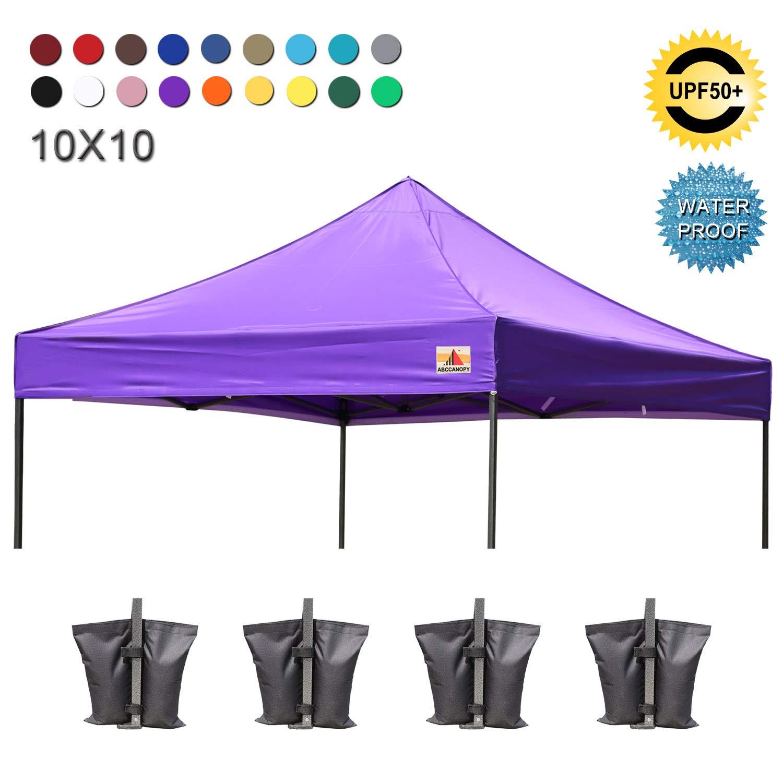 ABCCANOPY Replacement Top Cover 100% Waterproof (18+ Colors) 10x10 Pop Up  Canopy Tent Top, Bonus 4 x Weight Bags (Purple)