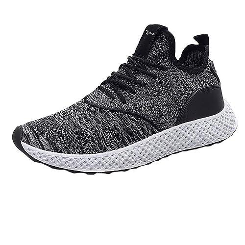 Zapatillas Deportivas Casuales de Moda para Hombre Gimnasia Ligero Running Fitness Sneakers Respirabl Ligero y Comodo Color sólido Casuales con Cordones ...