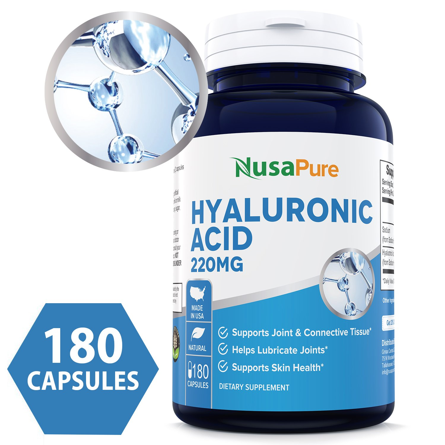 Best Hyaluronic Acid 200mg 180caps (Non-GMO & Gluten Free) - Support Healthy Connective Tissue and Joints - Promote Healthy Skin - 200mg per Serving Extra Sodium 20 mg - 100% Money Back Guarantee