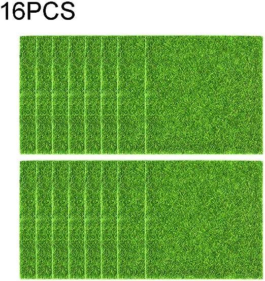 QINYONGFENG 16 Paquetes de césped Artificial for jardín, 6 x 6 césped Artificial DIY césped en Miniatura decoración jardín de Adorno de césped: Amazon.es: Hogar