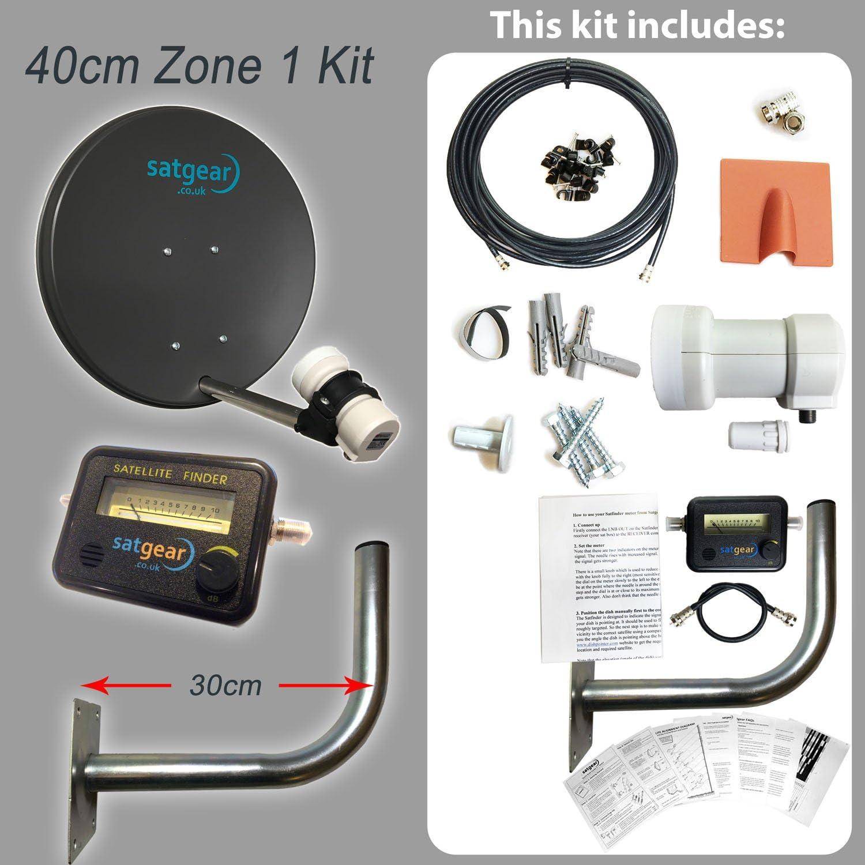 Satgear - Kit de antena parabólica para Freesat (40 cm, cable ...