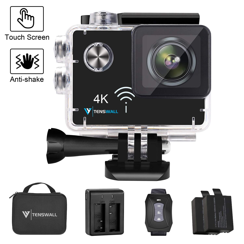 """Action Kamera 4K, Tenswall Sport Cam 16MP Nachtsicht 2.0"""" LCD Touchscreen EIS Unterwasserkamera Wi-Fi Ultra FHD mit 170° Weitwinkel Helmkamera mit 2 Akkus und Fernbedienung, Transporttasche und Kostenlose Zubehoer"""