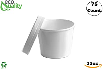 c672ade2366 Amazon.com: 32 oz Disposable White Paper Soup Containers [75 Count ...