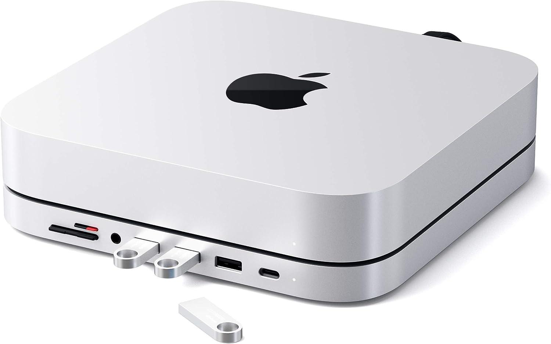 Satechi Type-C Aluminum Stand & Hub - USB-C Data Port, Micro/SD Card Readers, USB 3.0 & Headphone Jack Port - Compatible with 2020 & 2018 Mac Mini (Silver)