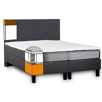 Ariba - Cama Palermo Negro h2.2 Hotel Premium cama tapizada (fabricado en la ue en los tamaños 140 x 200 cm, 150 x 200 cm, 180 x 200 cm,, ...
