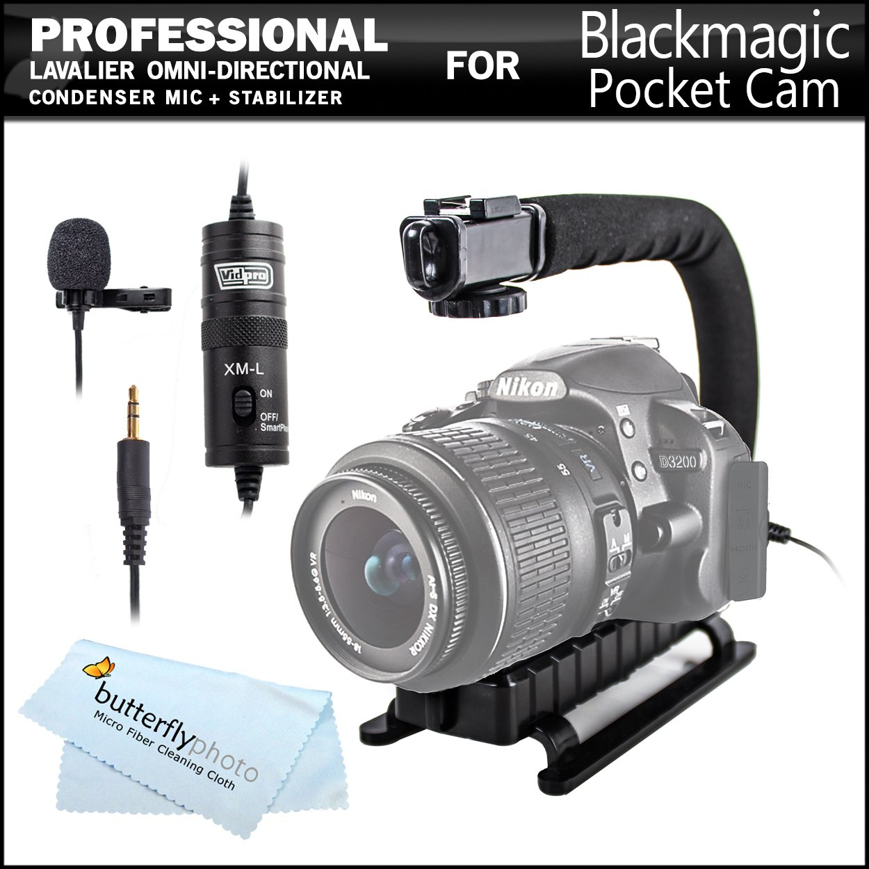 ButterflyPhoto Professional Lavalier (lapel) Omni-directional Condenser Microphone - 20' Audio Cable + Video Stabilizer Kit For Blackmagic Pocket Cinema Camera with Micro Four Thirds Lens Mount