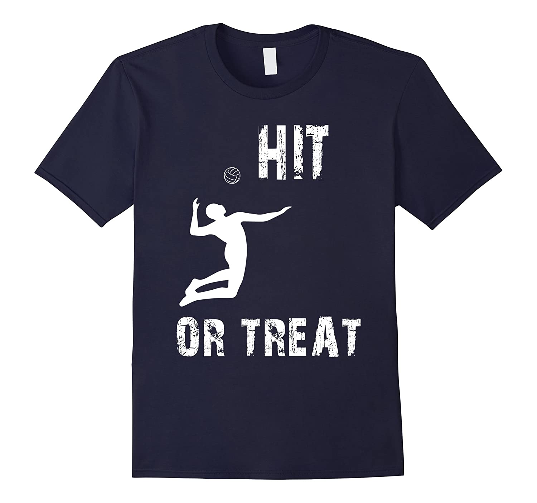Funny hit or treat Volleyball Halloween tshirt-FL