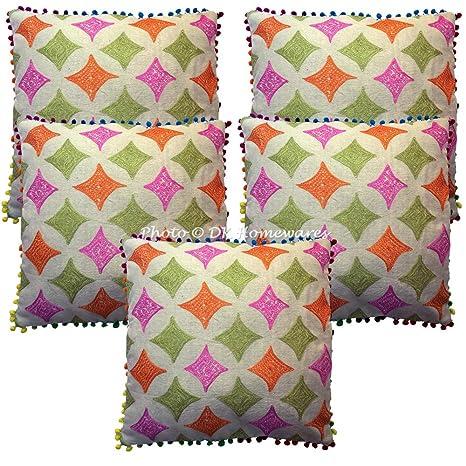 DK Homewares algodón étnico Dormitorio Throw Pillow Cubre 16 x 16 Toalla Bordado Floral Cuadrado Throw
