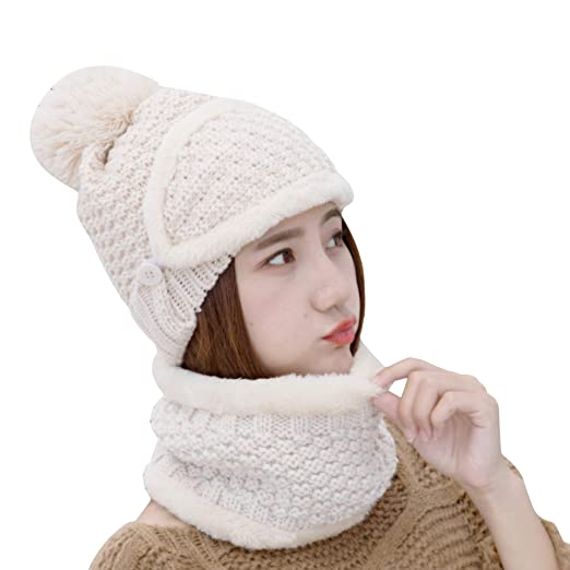 995fd1b1fb4 VWU Womens Trendy Winter Warm Thick Knitted Infinity Scarf Wind Resistant  Fleece Lined Scarf Slouchy Wool