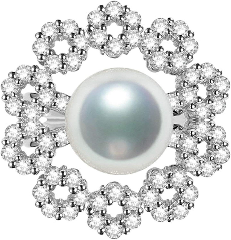 Beydodo Anillos de Oro Blanco Mujer 18 K Anillo Mujer Flor con Perla Diamante 2.31ct Anillo Plata
