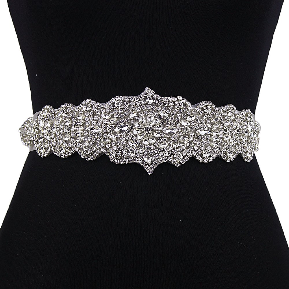 Top Queen Women's Diamond Crystal Sash Style Bridal Sashes Belt Wedding Belts Sashes for Wedding (Black)