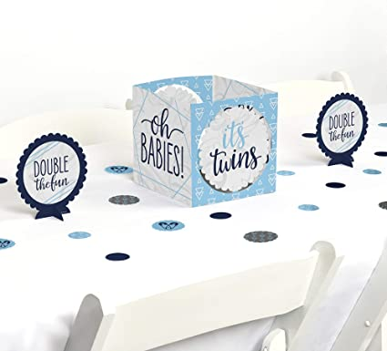 Amazon Com Big Dot Of Happiness It S Twin Boys Blue Twins Baby Shower Centerpiece And Table Decoration Kit Toys Games