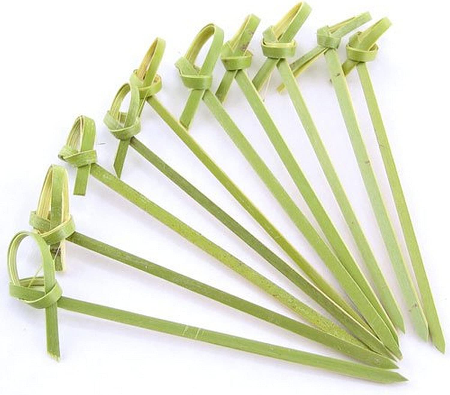 JapanBargain 1596x2, Bamboo Cocktail Picks Skewers for Appetizer Snack Sandwich Finger Food Tapas Fruit Kabob BBQ Hors D'oeuvre Twisted End Knotted Bamboo Sticks, 4 inch, 100pcs