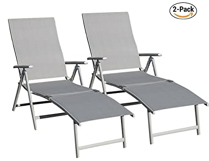 Kozyard Cozy Aluminum Beach Yard Pool Folding Reclining Adjustable Chaise  Lounge Chair (Gray,2