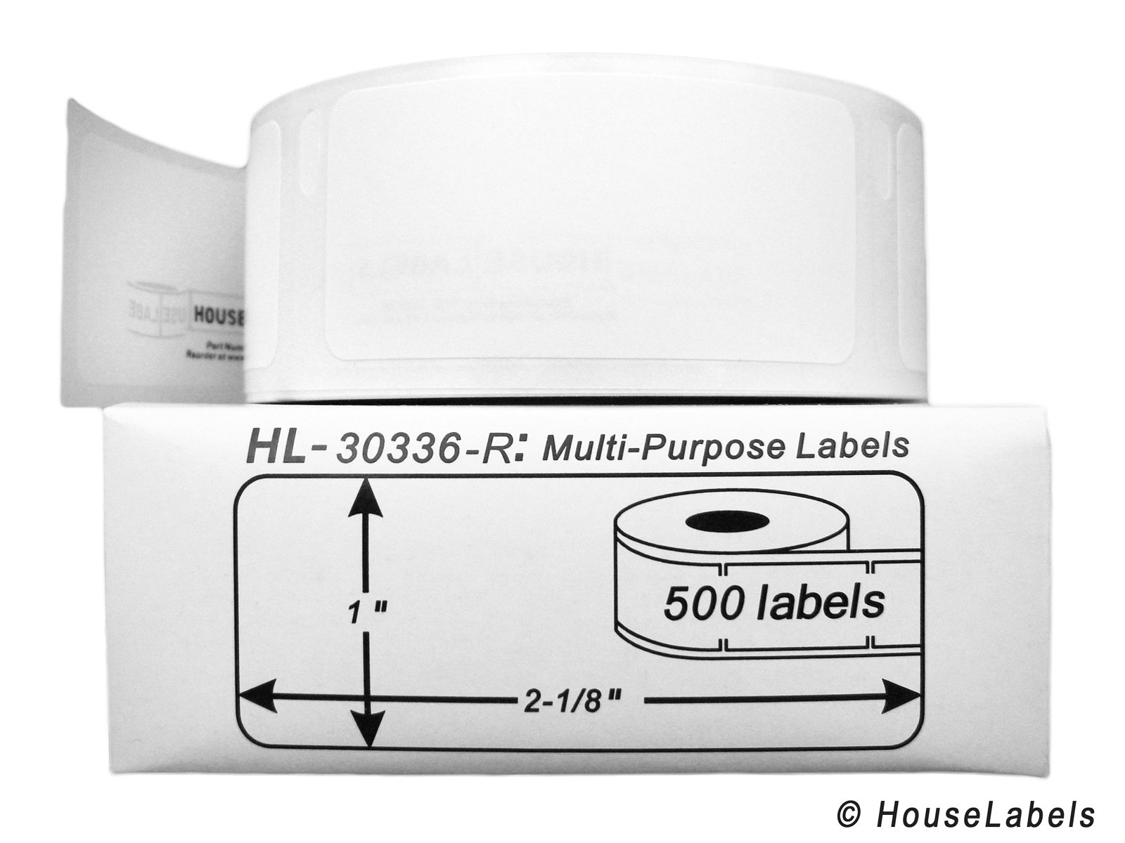 12 Rolls; 500 Labels per Roll of DYMO-Compatible 30336-R REMOVABLE Multipurpose Labels (1'' x 2-1/8'') -- BPA Free!