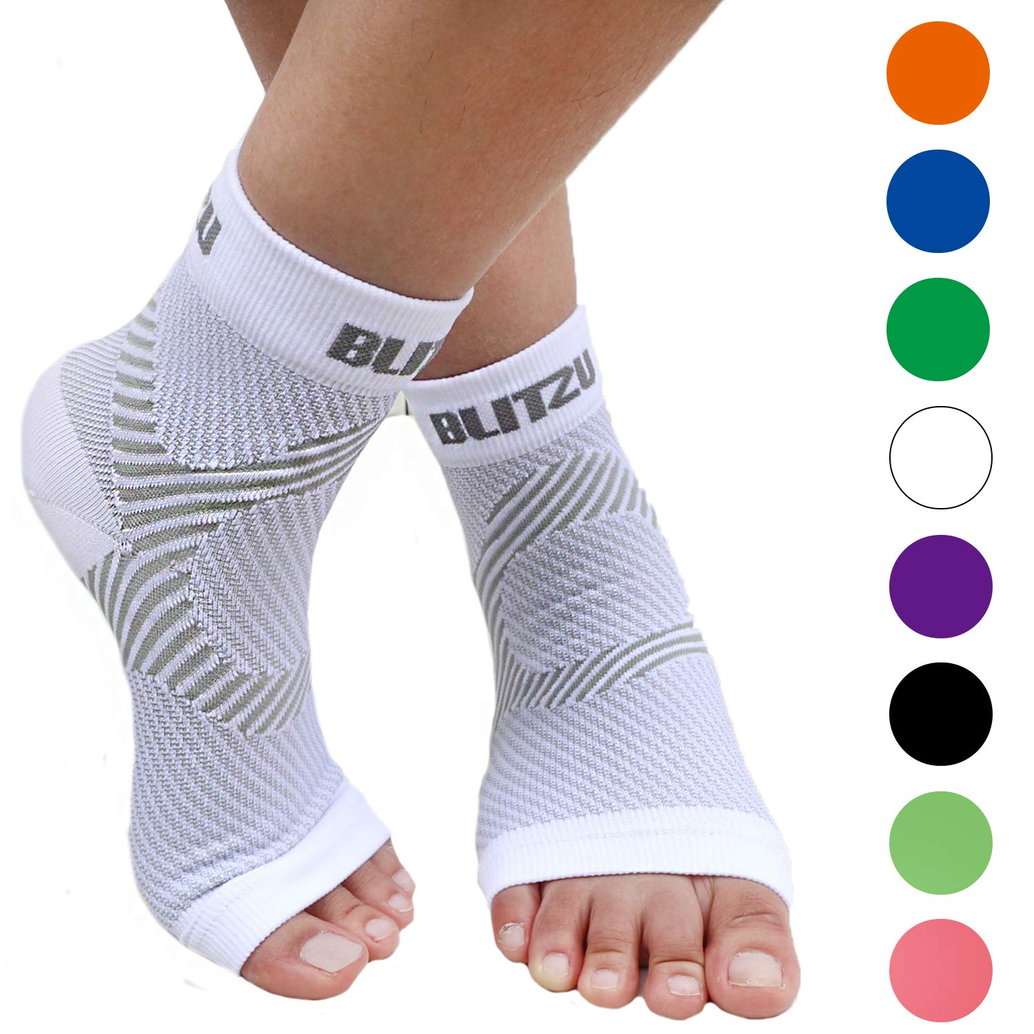 BLITZU Plantar Fasciitis Socks with Arch Support, Foot Care Compression Sleeve, Eases Swelling & Heel Spurs, Ankle Brace Support, Relieve Pain Fast White S-M by BLITZU