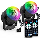 [2-PACK] Yoozon Party Lights Sound Activated Disco Ball Party Light 7 Lighting Color Disco Lights with Remote Control for Bar Club Party DJ Karaoke Wedding Show and Outdoor(3W)